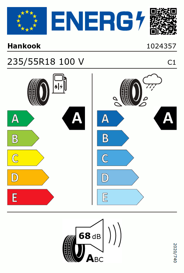 Etiquetage du Pneu Hankook VENTUS S1 EVO 3 SUV K127A