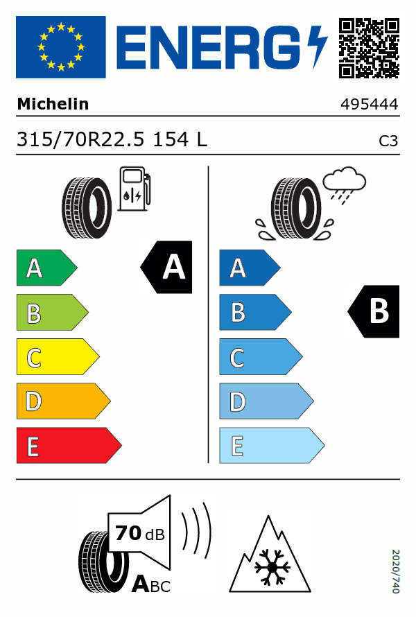 Etiquetage du Pneu Michelin X LINE ENERGY D2