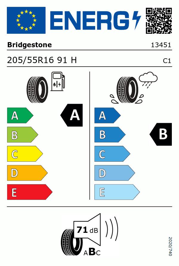 Etiquetage du Pneu Bridgestone TURANZA T001 ECOPIA