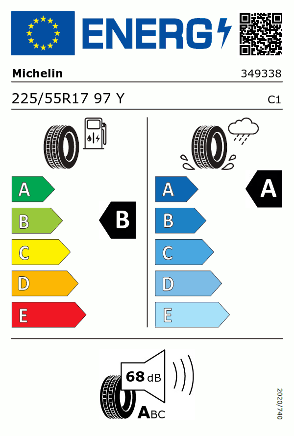Etiquetage du Pneu Michelin PRIMACY 3