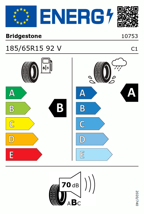 Etiquetage du Pneu Bridgestone ECOPIA EP001S