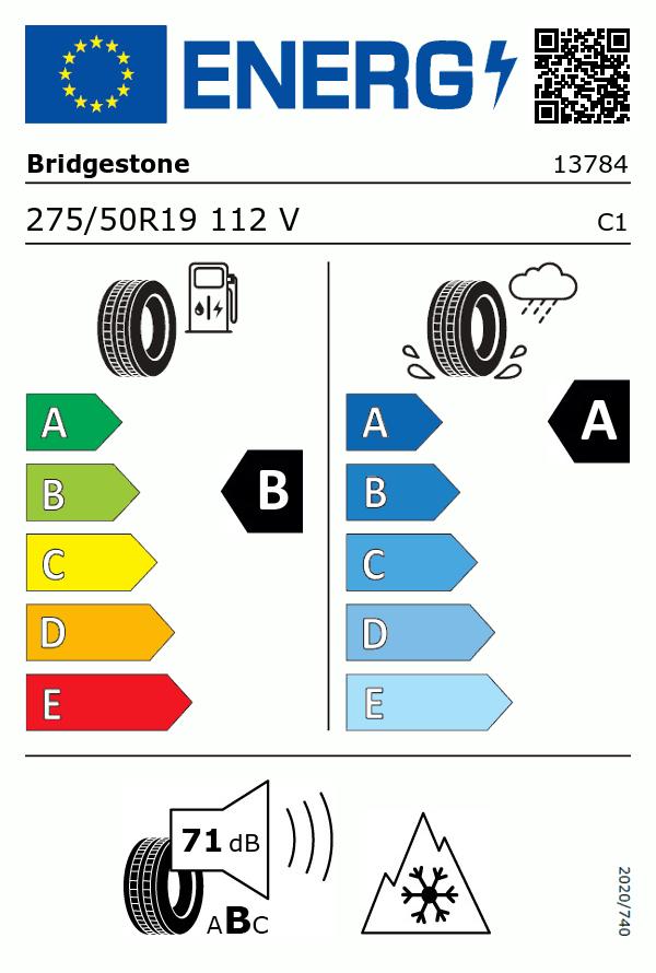 Etiquetage du Pneu Bridgestone ALENZA SPORT A/S