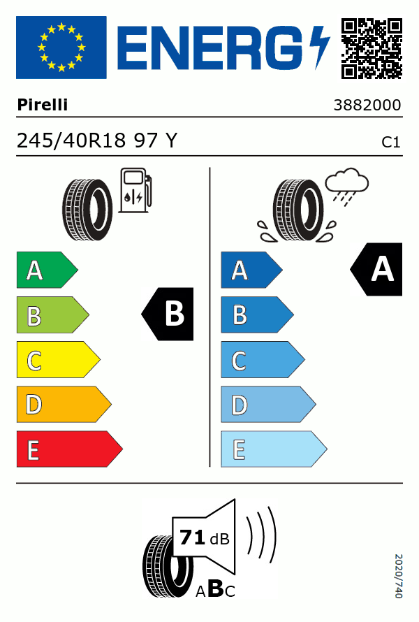 Etiquetage du Pneu Pirelli POWERGY