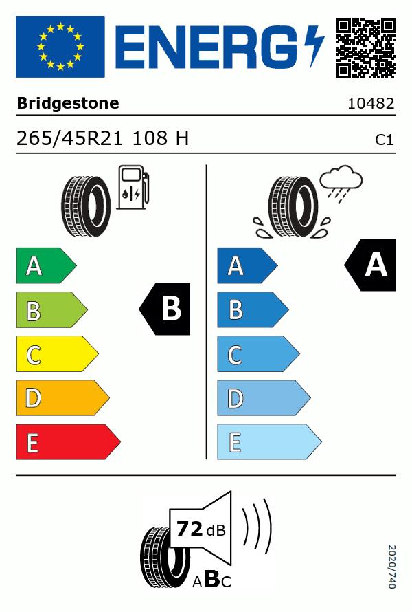 Etiquetage du Pneu Bridgestone ALENZA 001
