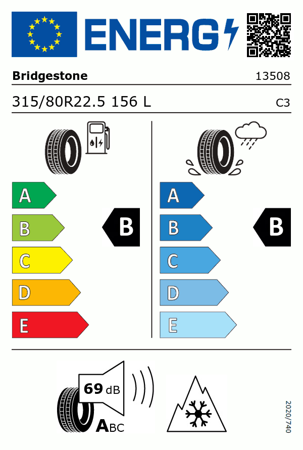 Etiquetage du Pneu Bridgestone ECOPIA H-STEER 002