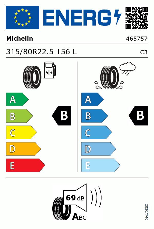Etiquetage du Pneu Michelin X LINE ENERGY Z (80)