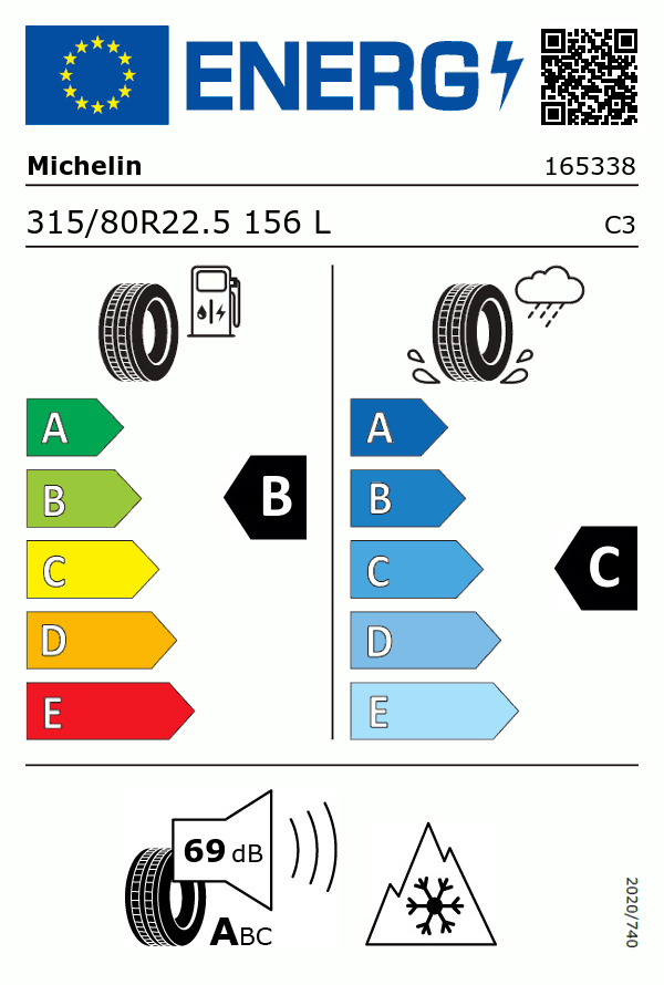 Etiquetage du Pneu Michelin X LINE ENERGY D (80)