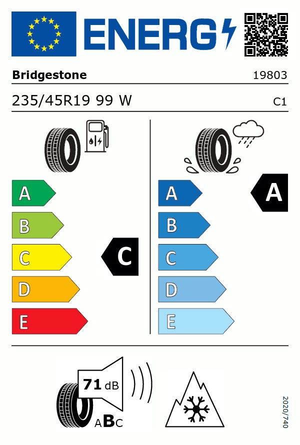 Etiquetage du Pneu Bridgestone Weather control A005 evo