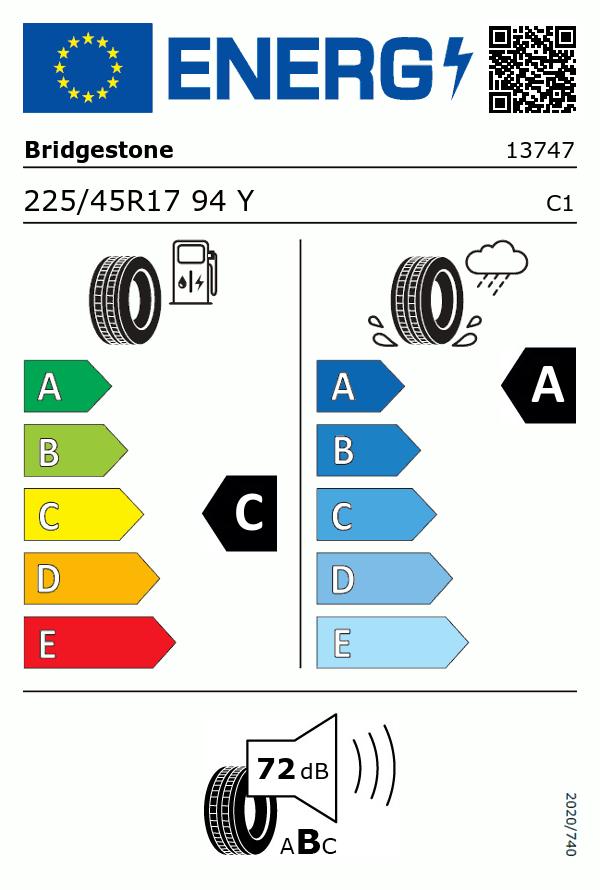 Etiquetage du Pneu Bridgestone TURANZA T005 DRIVEGUARD