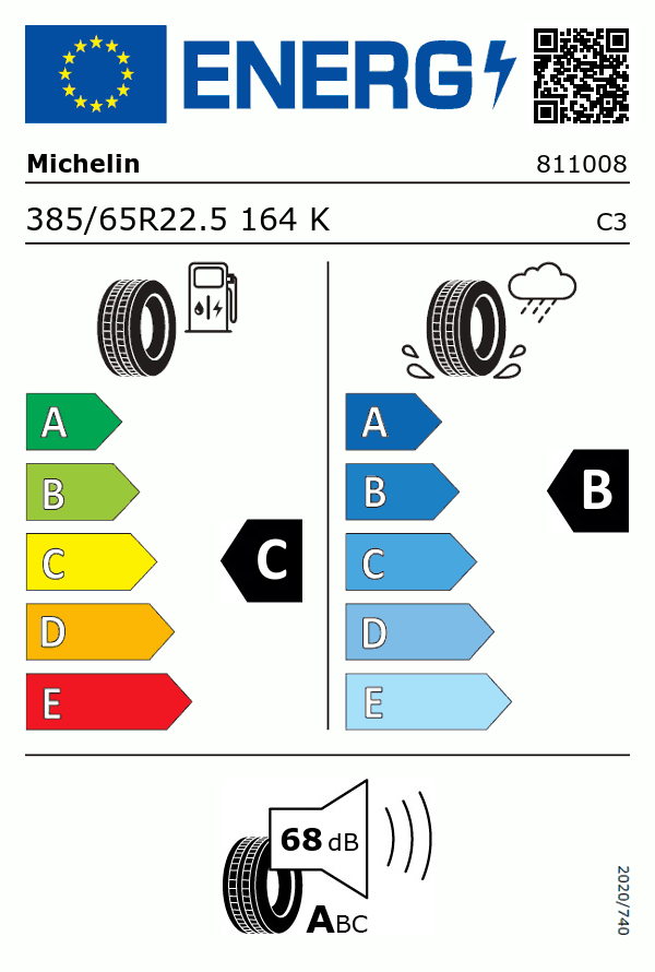 Etiquetage du Pneu Michelin X MULTIWAY HD XZE