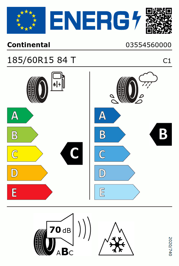 Etiquetage du Pneu Continental WINTER CONTACT TS 870