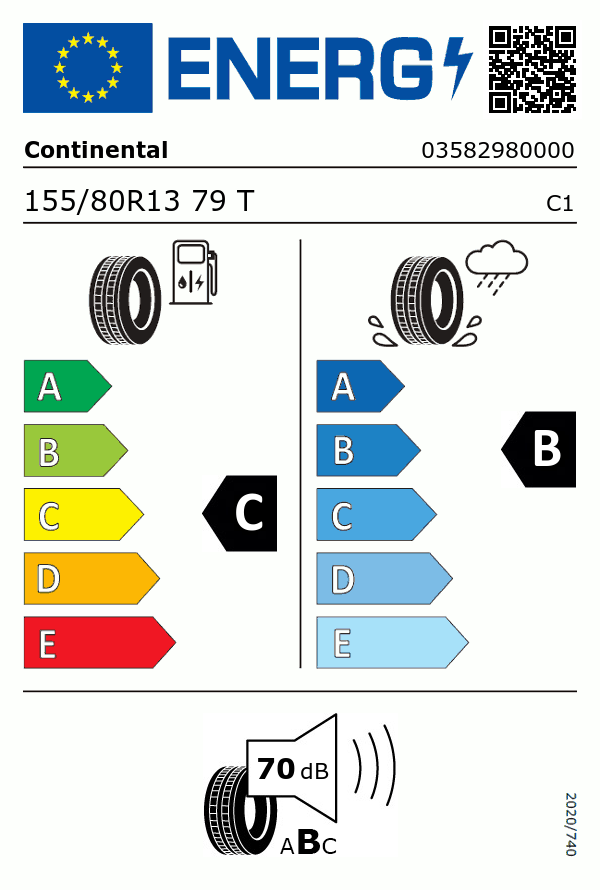 Etiquetage du Pneu Continental ECO CONTACT 6