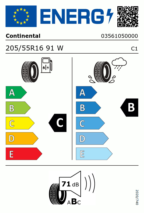 Etiquetage du Pneu Continental Conti Premium Contact 5