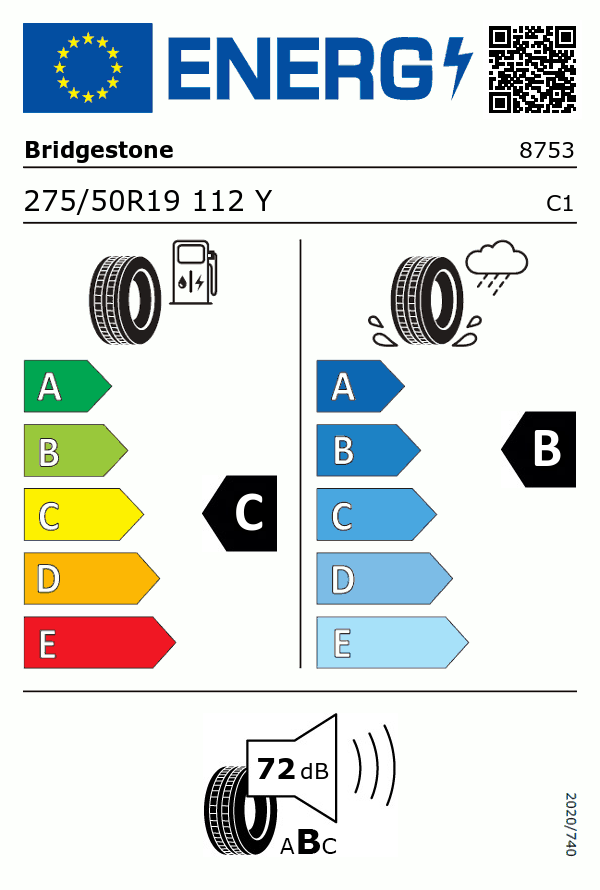 Etiquetage du Pneu Bridgestone DUELER H/P SPORT