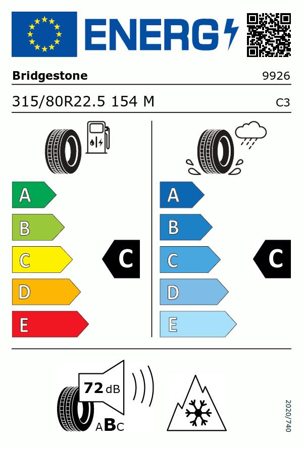 Etiquetage du Pneu Bridgestone R249 ECOPIA