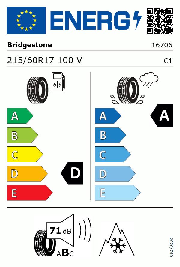 Etiquetage du Pneu Bridgestone BLIZZAK LM005 DRIVEGUARD