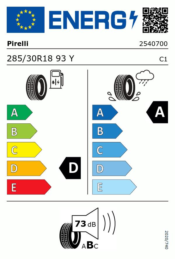 Etiquetage du Pneu Pirelli P ZERO ROSSO
