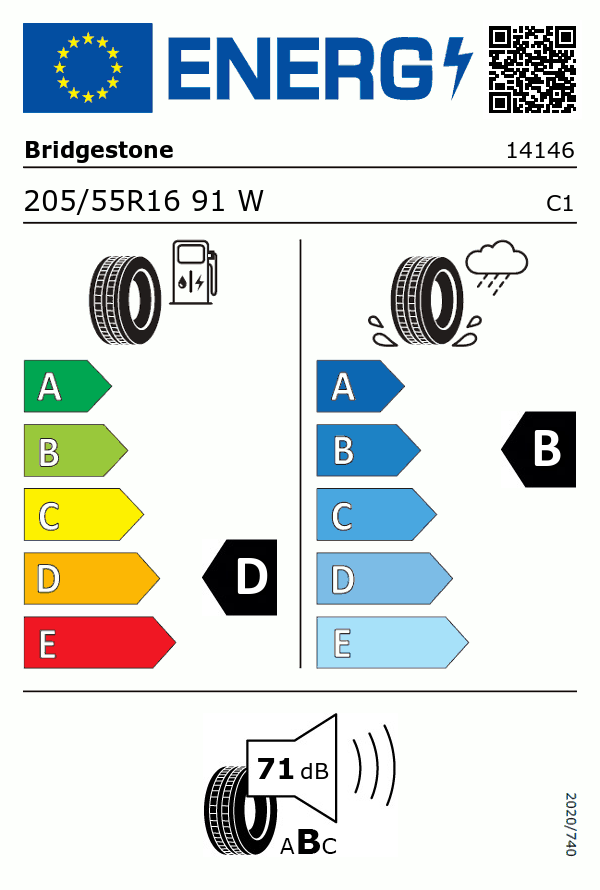 Etiquetage du Pneu Bridgestone TURANZA ER300-1