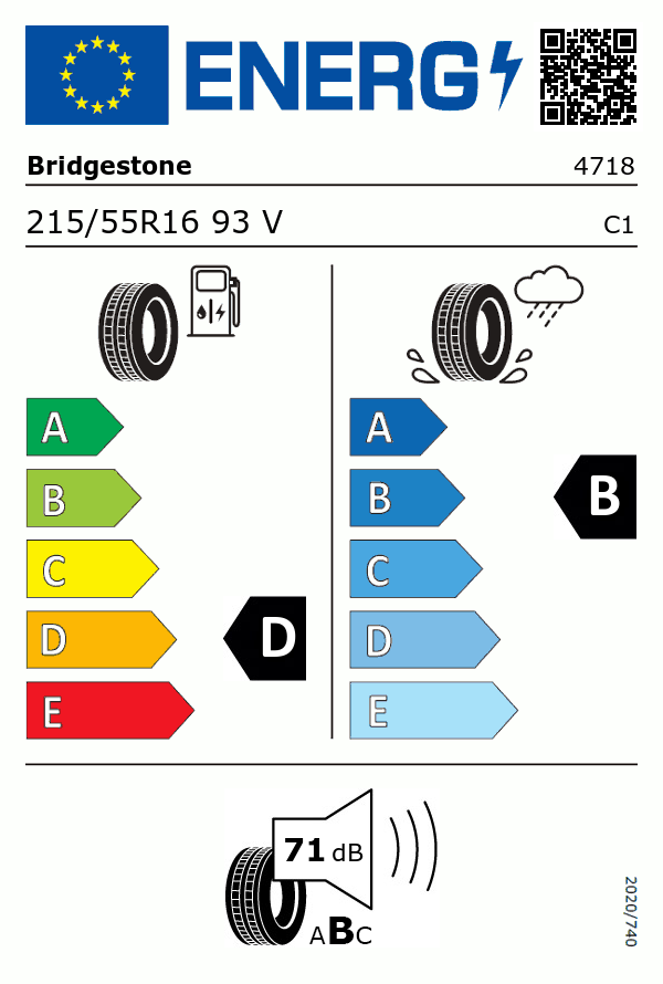 Etiquetage du Pneu Bridgestone TURANZA ER300