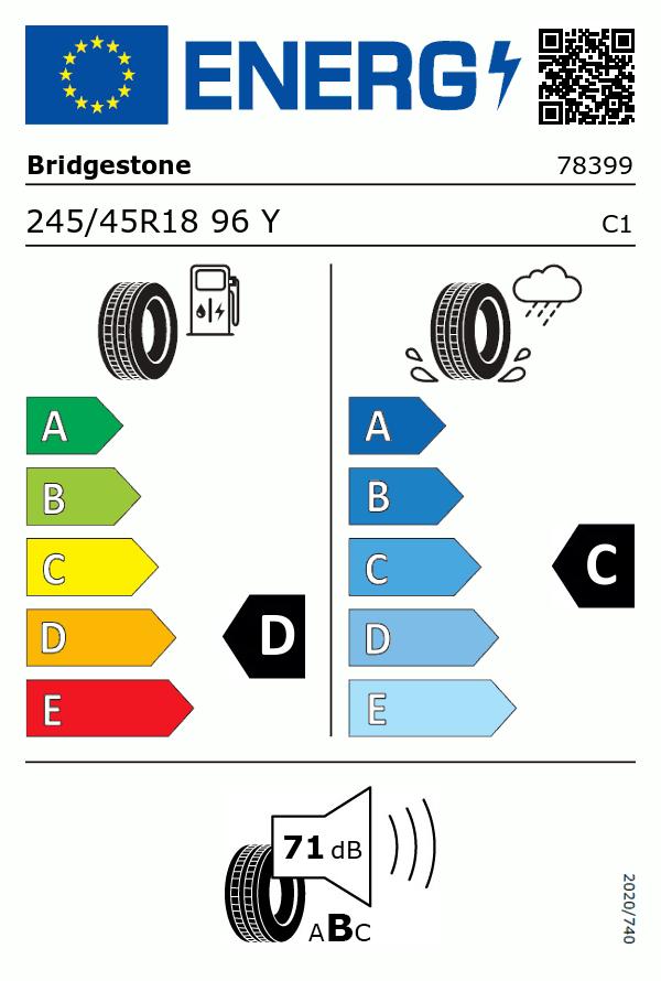 Etiquetage du Pneu Bridgestone POTENZA RE050