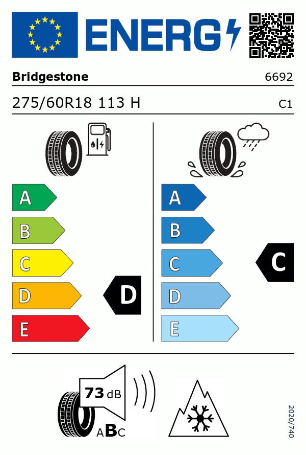 Etiquetage du Pneu Bridgestone BLIZZAK LM80 EVO
