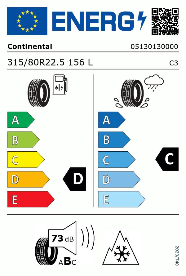 Etiquetage du Pneu Continental HSW2 COACH