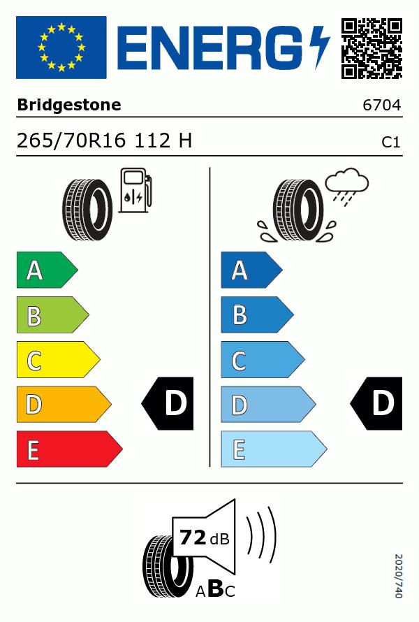 Etiquetage du Pneu Bridgestone DUELER H/T 689