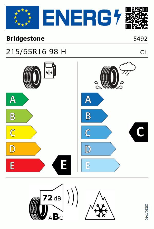 Etiquetage du Pneu Bridgestone BLIZZAK LM80