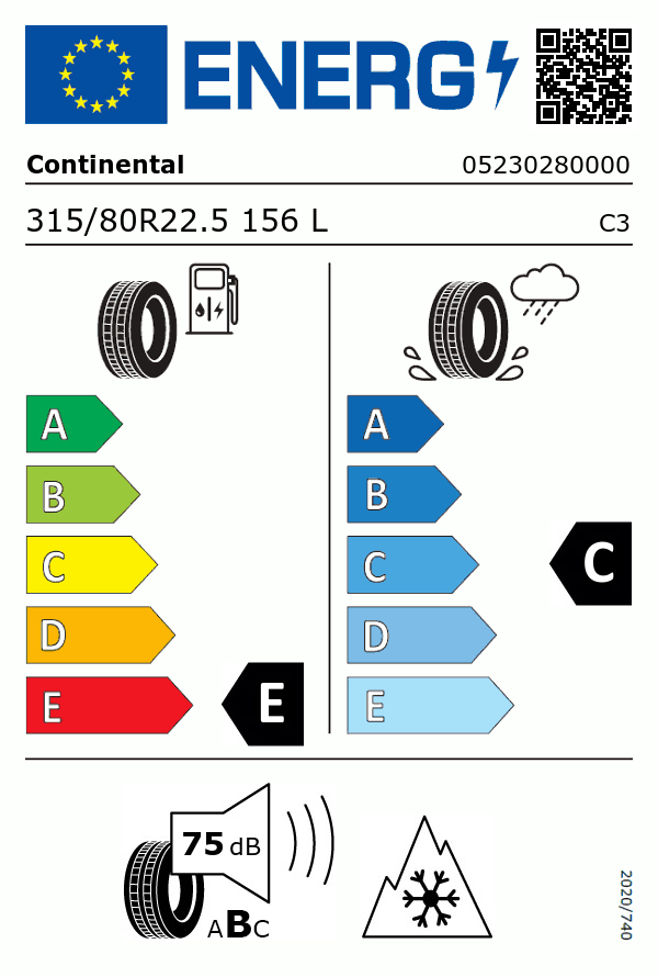 Etiquetage du Pneu Continental HDW2 SCANDINAVIA