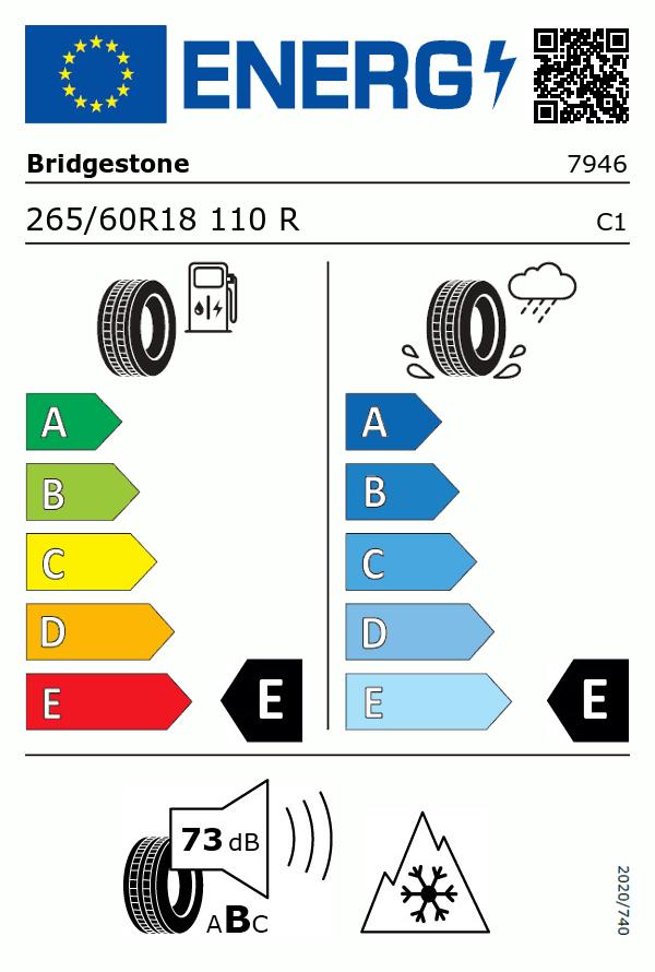 Etiquetage du Pneu Bridgestone BLIZZAK DM-V2